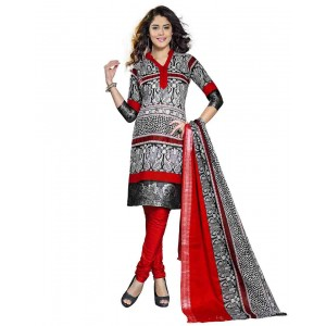 Red And Black Color Printed Dress Material 02
