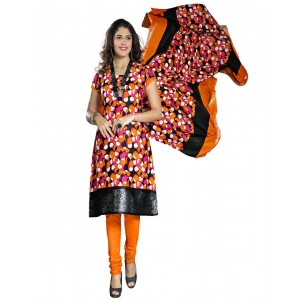 Black And Orange Color Printed Dress Material 03