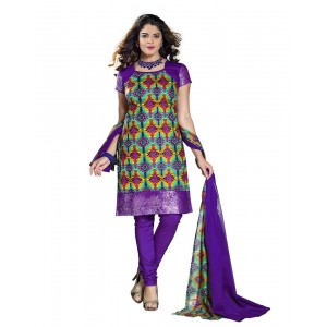 Purple With Printed Dress Material 06