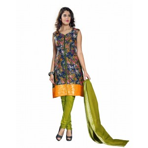 Orange And Green Color Block Printed Dress Material 09