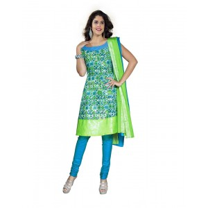 Green And Blue Color Printed Dress Material 10