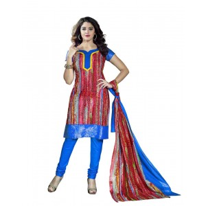 Blue And Red Color Printed Dress Material 11