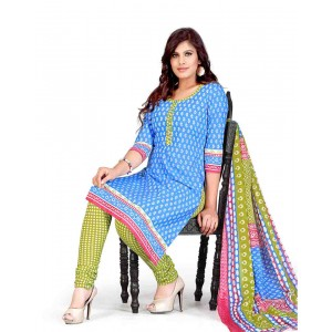 Blue And Green Color Printed With Gold Embroidery Dress Material 20