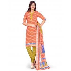 Yellow And Orange Color Printed With Gold Embroidery Dress Material 21