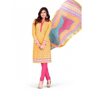 Pink And Orange Color Printed With Gold Embroidery Dress Material 22