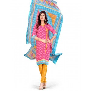 Pink And Blue Color Printed With Gold Embroidery Dress Material 23