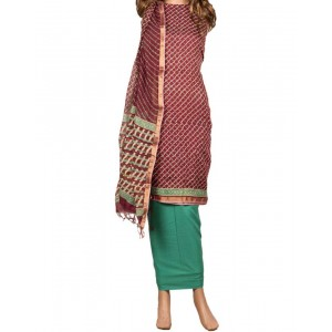 Green And Maroon Printed With Gold Embroidery Dress Material 26