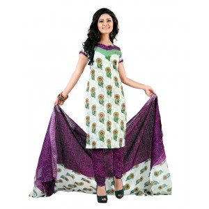 White And Purple Color Cotton Printed Dress Material 32
