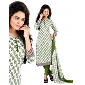 White And Green Color Cotton Printed Dress Material 34