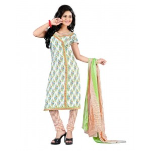 White And Green Color Cotton Printed Dress Material 36