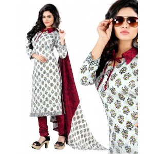 White And Red Color Cotton Printed Dress Material 38