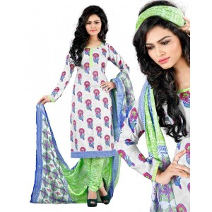 White And Green Color Cotton Printed Dress Material 39