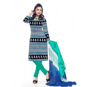 Blue And Green Cotton Printed Dress Material 69