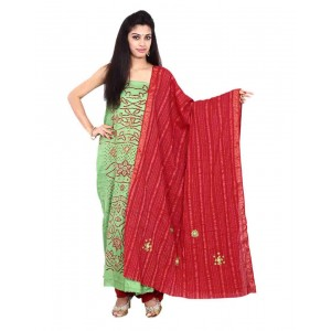 Green Cotton Satin Bandhani Dress Material KS72