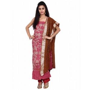 Peach Cotton Satin Bandhani Dress Material KS73