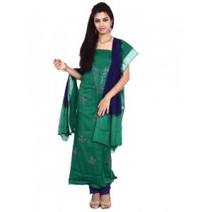 Purple Cotton Satin Bandhani Dress Material KS74