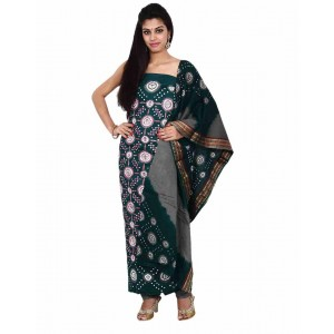 Green Cotton Satin Bandhani Dress Material KS75