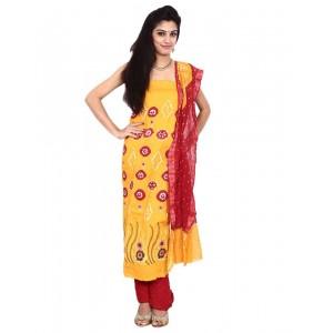 Yellow Cotton Satin Bandhani Dress Material KS83