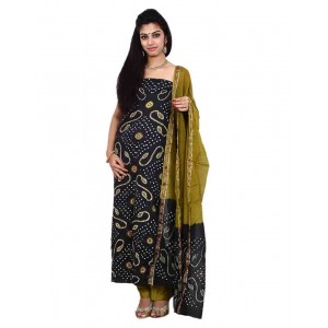Grey Cotton Satin Bandhani Dress Material KS88