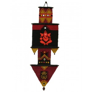 Handloom Cotton Wall Hanging Red Ganesha 024