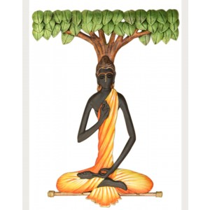 Iron Handicrafts Buddha With Tree Wall Hanging IH155