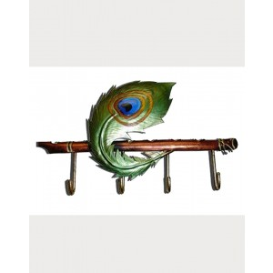 Iron Handicrafts Peacock Feather Key Hanger IH164