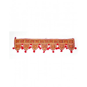 Kutch Qasab Five Mirror Toran Sevan Leaf Door Gate Wall Hanging KQ53