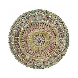 Wood Carved Round Pannel Wallhanging HAE62
