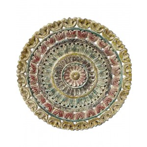 Wood Carved Round Pannel Wallhanging HAE63