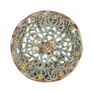 Wood Carved Round Pannel Wallhanging HAE64