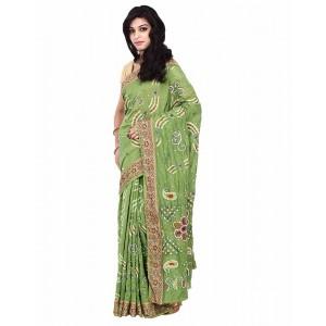Kala Sanskruti Gadhwal Silk Green Bandhani Mirror Work Saree