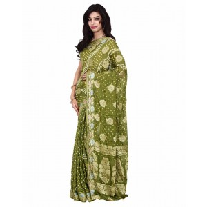 Kala Sanskruti Art Silk Green Bandhej Saree