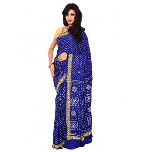 Kala Sanskruti Gaji Silk Saree With Work In Blue Color