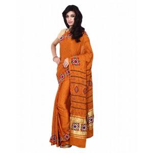 Kala Sanskruti Gaji Silk Saree With Work In Orange Color