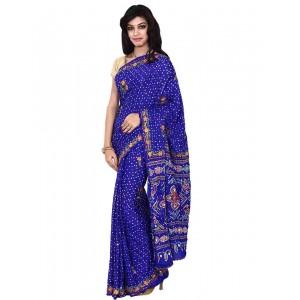 Kala Sanskruti Gaji Silk Saree With Work In Blue Color