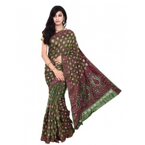 Kala Sanskruti Green Color South Silk Bandhani Saree