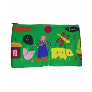 Green Color Jute Purse With Appliques MH01