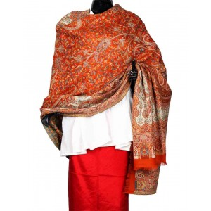 Rust Orange Himroo Shawl HS25