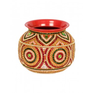 Shree Collection Decorative Steel Kalash(Stone Work) SC50