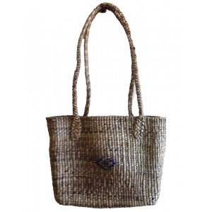 Brown Square Normal Weave Water Hyacinth Bag