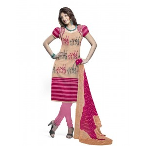 Beige And Pink Cotton Printed Dress Material 58