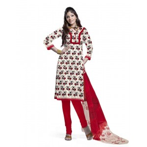 White And Red Cotton Printed Dress Material 62
