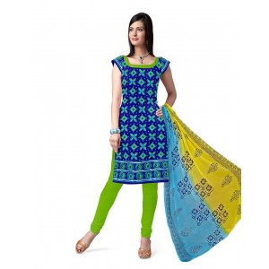 Blue And Green Cotton Printed Dress Material 64