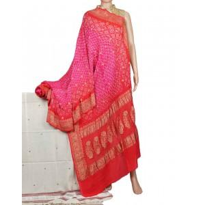Megha Arts & Crafts Hand Wooven Zari Bandhani Saree MAC582