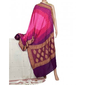 Megha Arts & Crafts Hand Wooven Zari Bandhani Saree MAC583