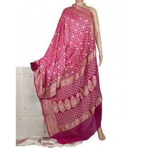 Megha Arts & Crafts Hand Wooven Zari Bandhani Saree MAC586