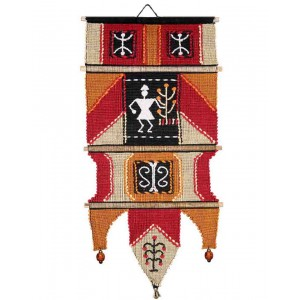 Handloom Cotton Wall Hanging with Human 360 A red